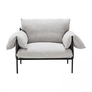 Alva Linen Armchair Dove | Black Frame