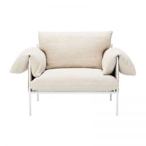 Alva Linen Armchair Oyster | White Frame