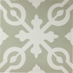 Alys Encaustic Tile | Sage & Antique White | Schots