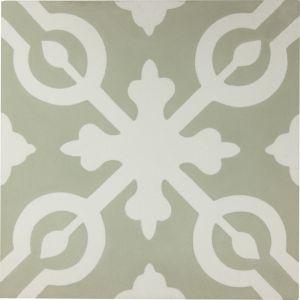 Alys Encaustic Tile | Sage & Antique White | Schots