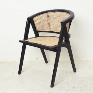 Amalia Rattan Rounded Dining Chair - Black l Custom Made