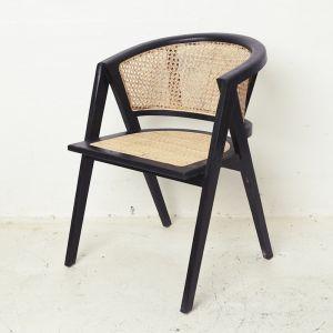 Amalia Rattan Rounded Dining Chair - Black l Custom Made