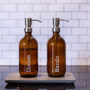 Amber Glass Bottle | Stainless Steel Lotion Pump