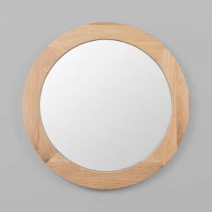 American Oak Framed Round Mirror