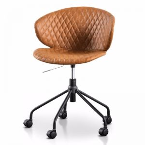 Amos Office Chair | Tan with Black Base