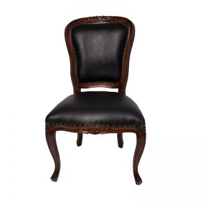 Amy Dining Chair Mahogany | Black Faux Leather