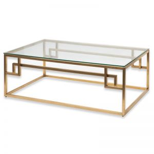 Anderson 1.2m Coffee Table - Glass Top | Brushed Gold Base | Interior Secrets