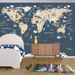 Animals of the World | Dark Blue | Full Wall Mural