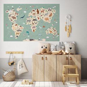 Animals World Map Wall Sticker
