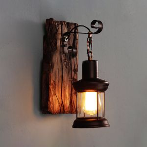 Antique Hanging Lifting Single Light Wood & Metal Wall Sconce Indoor Lighting
