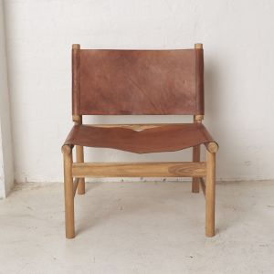 Anwar Leather and Teak Chair l Custom Made