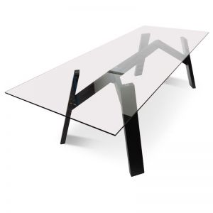 Anya 2.4m Scandinavian Dining Table With Tempered Glass | Black Ash Base | Interior Secrets