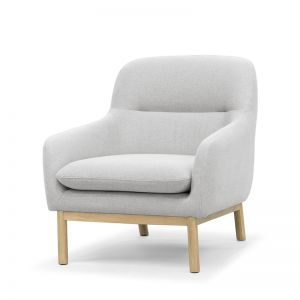 Anya Lounge Chair | Light Grey and Natural Oak Legs by SATARA