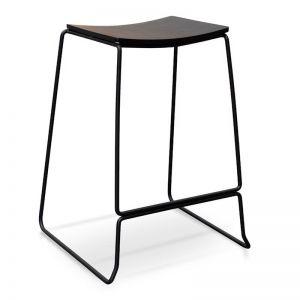 Apollo Bar Stool   Black Timber Seat, Black Frame   Interior Secrets