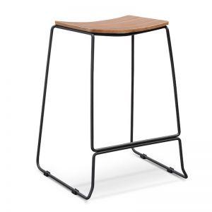Apollo Bar Stool   Walnut Timber Seat, Black Frame   Interior Secrets