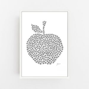 Apple Orchard in Silver Grey Wall Art Print | by Pick a Pear | Canvas