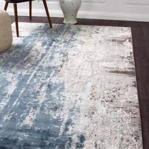 Apsley Blue Modern Rug | Blue & Grey