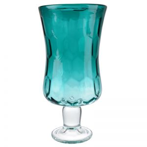 Aqua Footed Hurricane Vase