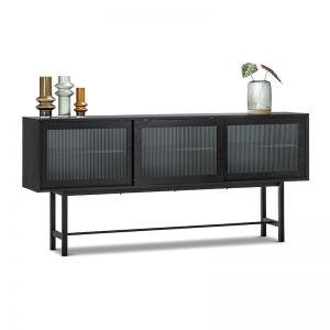 Arae Fluted Glass Sideboard | Black Oak