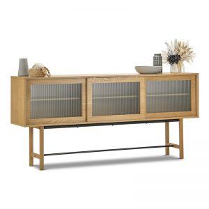 Arae Fluted Glass Sideboard | Natural Oak