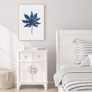 Aralia Living in Navy Blue Fine Art Print   by Pick a Pear   Framed