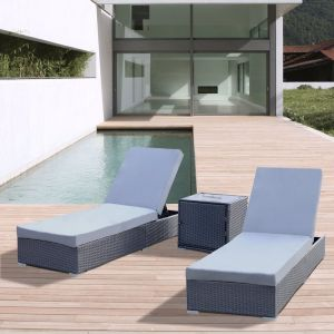 Arcadia Furniture 3 Piece Sunlounge Set | Black and Grey