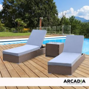 Arcadia Furniture 3 Piece Sunlounge Set | Oatmeal and Grey