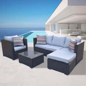 Arcadia Furniture 4 Piece Outdoor Sofa Set | Black and Grey