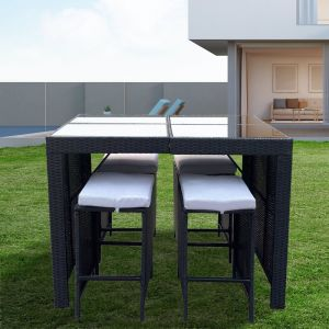 Arcadia Furniture 5 Piece Bar Table Set | Black and Grey