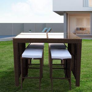 Arcadia Furniture 5 Piece Bar Table Set | Oatmeal and Grey