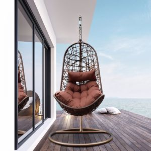 Arcadia Furniture Outdoor Hanging Egg Chair | Brown and Coffee