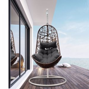 Arcadia Furniture Outdoor Hanging Egg Chair | Oatmeal and Grey