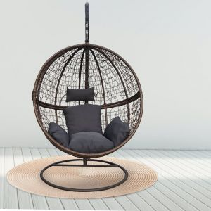Arcadia Furniture Outdoor Rocking Egg Chair | Brown and Grey