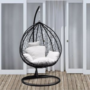 Arcadia Furniture Rocking Hammock Egg Chair | Black and Cream