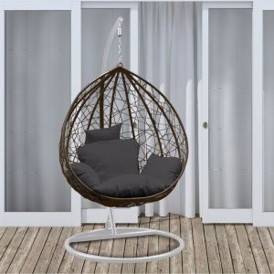Arcadia Furniture Rocking Hammock Egg Chair | Oatmeal and Grey