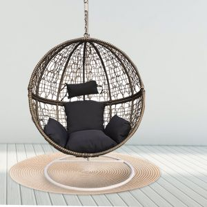 Arcadia Furniture Rocking Hammock Egg Chair Round | Oatmeal and Grey