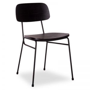 Archie Chair | Black Frame | Black Stained Timber Seat