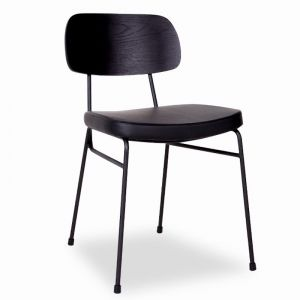 Archie Chair | Black Frame | Black Timber Seat | Black Pad
