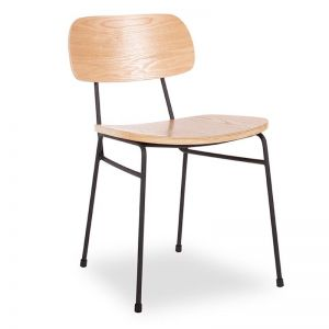 Archie Chair | Black Frame | Oak Timber Seat