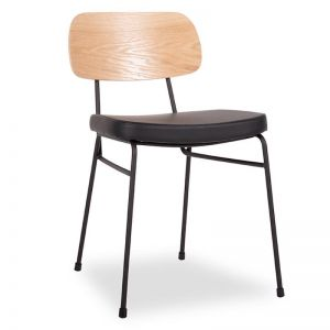 Archie Chair | Black Frame | Oak Timber Seat | Black Pad