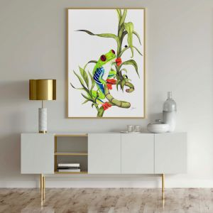 Archie the Red Eyed Green Tree Frog by Pick a Pear   Unframed