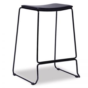 Ardent Counter Stool | Black Frame | Black Cushion