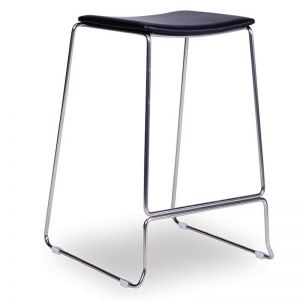 Ardent Counter Stool | Brushed Steel | Black Cushion