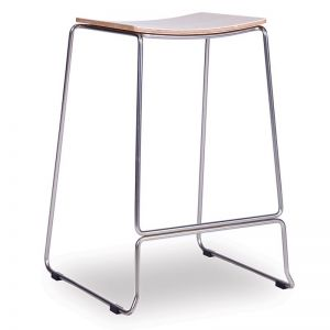 Ardent Counter Stool | Brushed Steel | Oak Seat