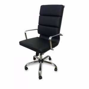 Aria High Back Office Chair | Black Leather
