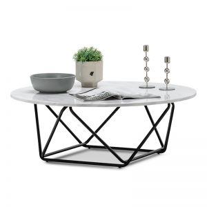 Aria Marble Round Coffee Table | White & Black
