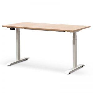 Ariya Standing Office Desk | Natural with White Legs