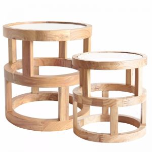 Arlo Side Table Elm Wood | Set of 2 | by Black Mango