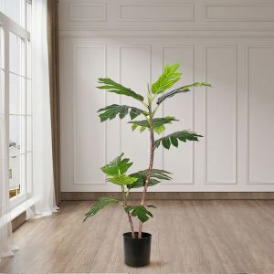 Artificial Natural Green Split-Leaf Philodendron Tree   2-Trunk