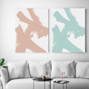 As If Green & Natural | Set of Two Canvas Wall Art by Beach Lane